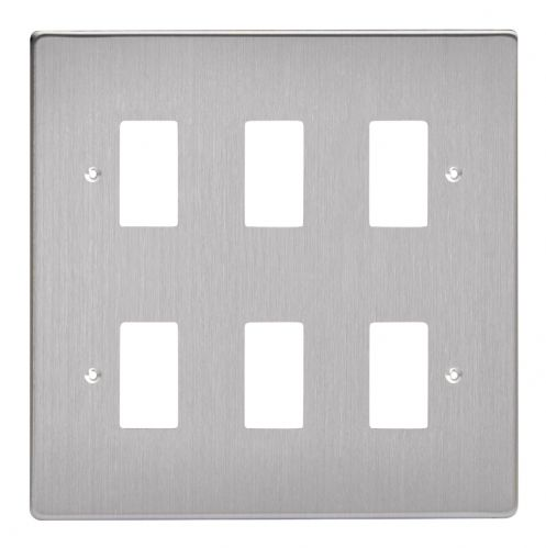 Varilight XDSPG6 PowerGrid Brushed Steel 6 Gang Grid Plate (Double Twin Plate)